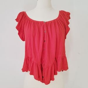 FREE PEOPLE Red Off the Shoulder Flowy Top